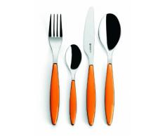Guzzini Feeling Set 24 Pezzi Posate, ABS/Plastica/Stainless steel AISI 304 18/10, Stainless steel AISI 410 (knife), Arancio, 7.5x15.8x25.5 cm, 24 Unità