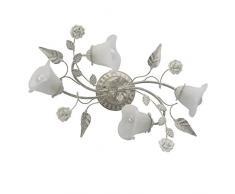 Lampade da soffitto bianche e colore oro, metallo, vetroceramica, a forma di fiore, Ø 63 cm, 4 lampadine da 60 W, E14, 230 V