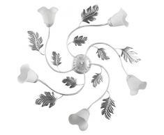 ONLI - Lampadario / plafoniera 5 luci Marilena in metallo bianco spennellato argento. Paralumi in vetro bianco. Prodotto lavorato a mano in Italia. Ø 70cm