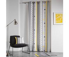 Douceur d'intérieur, Yellow Mix Tenda a Occhielli Poliestere Stampato 260 x 140 x 0,1 cm
