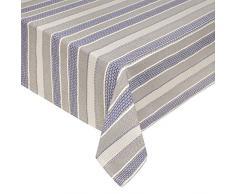 Coincasa 494775 Tovaglia Trama Jacquard Net, 100% Cotone, Bianco/Blu, 140x240x0.5 cm