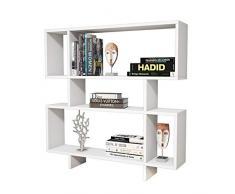 Homemania Libreria Hera Scaffale, Mobile - con Ripiani - da Salotto, Ufficio - Bianco in Legno, 100 x 20 x 100 cm