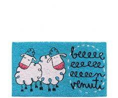 laroom Zerbino Motivo beeeeenvenuti, Jute And Base Antiscivolo, Blu, 40Â x 70Â x 1.8Â cm