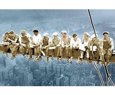 1art1 New York - Men On Girder, Blue Pop Art Poster Stampa (91 x 61cm)