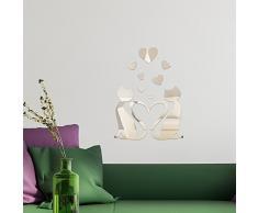 WALPLUS - Specchi Decorativi da Parete, a Forma di Gatti Innamorati, Colore Argento