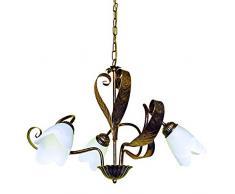 ONLI Forgiata - Lampadario 3 Luci, Vetro opaco color Bianco, Metallo Marrone spennelato Oro, Stile Rustico