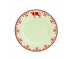 Quid 2058054 Marguerite Country - Servizio da 6 piatti da dessert, in ceramica, dimensioni: 19,8 x 19,8 x 2,20 cm, colore: Bianco/Rosso