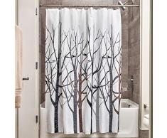InterDesign Forest Tenda da doccia, Tenda per vasca da bagno con motivo raffinato, Tenda in poliestere in tessuto 183,0 cm x 183,0 cm, Poliestere grigio/nero