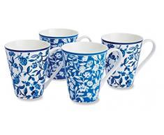 Cooksmart - Tazze in porcellana con motivo giardino segreto, cobalto, set di 4