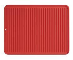 iDesign Scolapiatti da appoggio, Tappetino scolapiatti in silicone di grandi dimensioni, Tappetino lavello cucina ideale come sottopentola e scolaposate, rosso