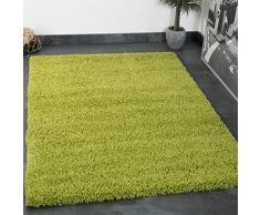 Vimoda Tappeto Shaggy Colore a Pelo Lungo Moderno per Soggiorno, Camera da Letto, Dimensioni: 150 cm Quadrato, Verde, 70x250 cm