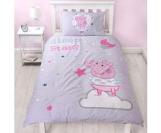 Peppa Pig Sleepy Design Singolo Reversibile Due Lati Ufficiale Viola Peppa Sleepover Biancheria da Letto con Federa Coordinata