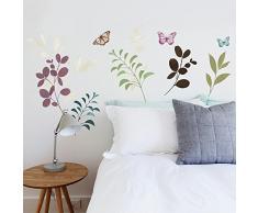 RoomMates, Adesivi murali Decorativi, Motivo: Piante e Farfalle, Multicolore (Bunt)