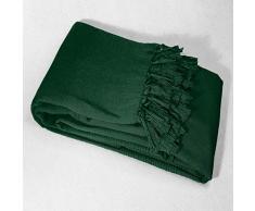 Douceur dIntérieur Telo copridivano con Frange, 220 x 240 cm, in Cotone, Colore: Verde