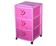 Mondex cassettiera con 3 cassetti e ruote, per bambini, in plastica, 39Â x 37Â x 67Â cm, Plastica, Rose, 67 CM