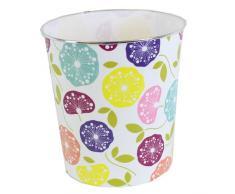 JVL plastica Moderni Stripes/Macchie/Circoli retrò Fiore Floreale Carta straccia Cestino Cestino, Multi-Colore