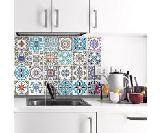 Ambiance-Live, Adesivo da Parete, Adesivo murale: Piastrella in Cemento Adesivo murale - Azulejos - 20 x 20 cm - 24 Pezzi