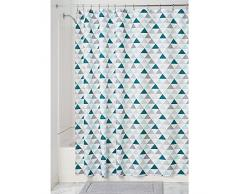 InterDesign 59420EU Triangles Tenda Doccia, Tessuto, Verde, 100x100x100 cm