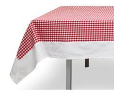 Tovaglia Quadrata in Cotone 180 x 180 cm Vichy Rossa, Jacquard