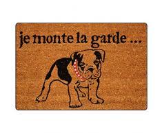 Tapis déco, Zerbino in fibra di cocco e pvc, con scritta Je monte la garde, motivo: Cane da guardia, 40 x 60 cm