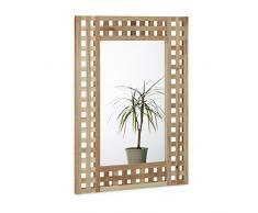 Relaxdays Specchio da/per Bagno in Legno di Noce, Naturale, con Cornice Decorativa, HBT: 69.4 X 51.0 X 1.8 cm