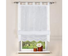 Home Fashion 79252-801 - Tenda a Pacchetto, in Tela Battista, 100 x 140 cm, Colore: Bianco