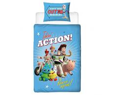 Character World Copripiumino Singolo Ufficiale Toy Story 4 Rescue, Double-Face, Double Face, con Woody & Buzz Lightyear, con Federa Abbinata
