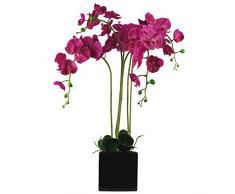 Orchidea artificiale a foglia, Materiali vari artificiale, Rosa scuro, 90 cm