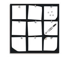 Eurographics - Bacheca per promemoria, 50 x 50 cm, colore: nero