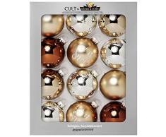 KREBS & SOHN Heitmann Deco Set di 12 Palline di Natale in Vetro - Albero di Natale Deco Appeso - Palle di Natale 8 cm - Marrone Argento Oro