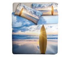 Ipersan Surf Parure Lenzuola 2 Piazze, 100% Puro Cotone, Azzurro Giallo, Matrimoniale