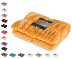 DecoKing- Coperta in Microfibra, Pile Morbido, Tessuto, 220 x 240 cm, Arancione