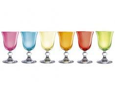 H&H Confezione 6 Calici in Vetro Mediterraneo Vino 15 Bicchieri Tavola, Colori Assortiti, cl