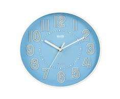 HABI Orologio Parete, Tondo, 25 cm, Plastica, Azzurro, rotonda