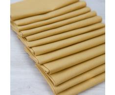 Linenme - Tovaglioli in cotone e lino Paula, 49 x 49 cm, 12 pz, colore giallo senape