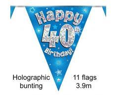 Eleganza per ° Compleanno bandierine, Foil, Blu, 10x 10x 1cm