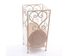 DiKasa Home Portaombrelli Shabby, Metallo, Bianco, 22 x 22 x 42 cm
