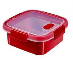 CURVER 232582 Smart Microonde Quadrato Vapore plastica Rosso 17 x 17 x 7 cm 0,9 l