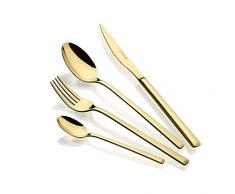 Monix Verona Gold - Servizio di posate 24 pezzi, in acciaio inox 18/10, design moderno e moderno, finitura lucida dorata, spessore 3 mm (6 persone)