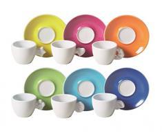 Excelsa 40805 Vanity Set 6 Tazze Caffè con Piattino, Ceramica