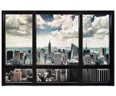 Artopweb Pannelli Decorativi New York Window Quadro, Legno, Multicolore, 90x1.8x60 cm