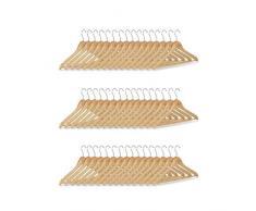 Relaxdays Set grucce, 48 stampelle in legno per pantaloni, guardaroba, gancio rotabile a 360°, HxL: 22,5x44,5 cm, beige/argento