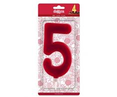 dekora Candela Gigante Numero 5, Cera, Rosso, 15Â cm