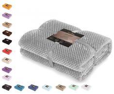 DecoKing- Coperta in microfibra, pile morbido, Tessuto, 70 x 150 cm, Grigio