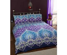 Asha Saphire Indiano Design Set Copripiumino e 2Â Federa Set di Biancheria da Letto, Colore: Blu/Viola