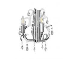 ONLI Blade Applique - Lampada da Parete E14, Cromato, 30 x h 25 cm,
