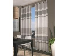 Home Collection FAS129 Tenda Fascia, Poliestere, Grigio, 140x290 cm