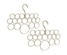 InterDesign Axis Porta sciarpe, Organizer per guardaroba per sciarpe, cravatte e cinture in metallo, Set da 2 appendini con 18 anelli, champagne opaco