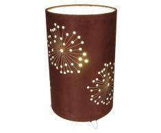 Naeve Leuchten 3035114 - Lampada da tavolo in tessuto, diametro 15 cm, altezza 25 cm, colore: Marrone
