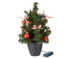 Heitmann Deco 91822 Albero di Natale con LED, decorato, altezza 40 cm, plastica, rosso, 24 x 24 x 42 cm